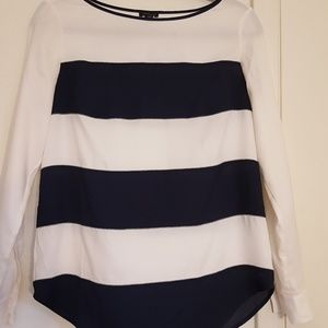 Cute navy and white Ann Taylor Top